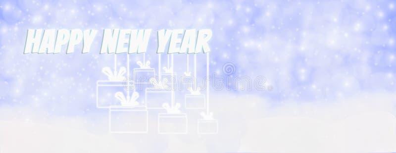 Счастливая зима Нового Года на открытом воздухе с падая снежинками, и hangi иллюстрация вектора