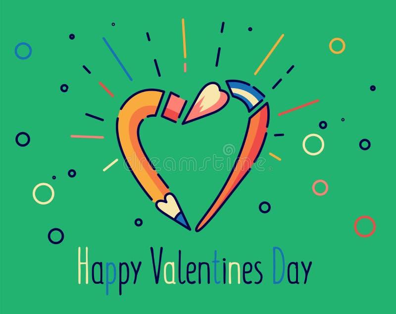 Счастливая иллюстрация вектора дня валентинок Карандаш и щетка в форме сердца Плоская линия стиль бесплатная иллюстрация