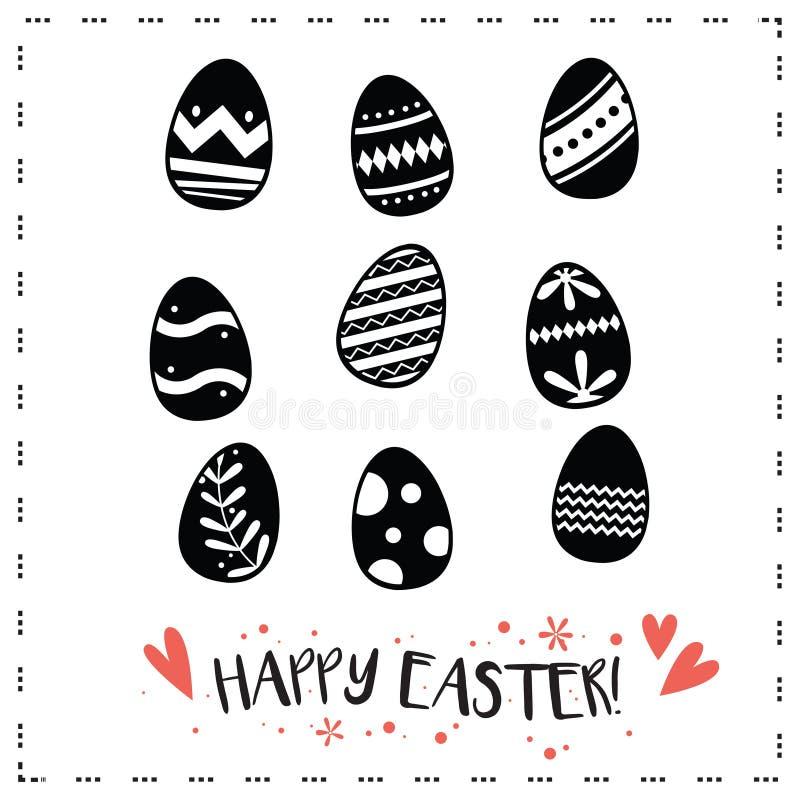 Счастливая иллюстрация вектора значков пасхальных яя иллюстрация штока