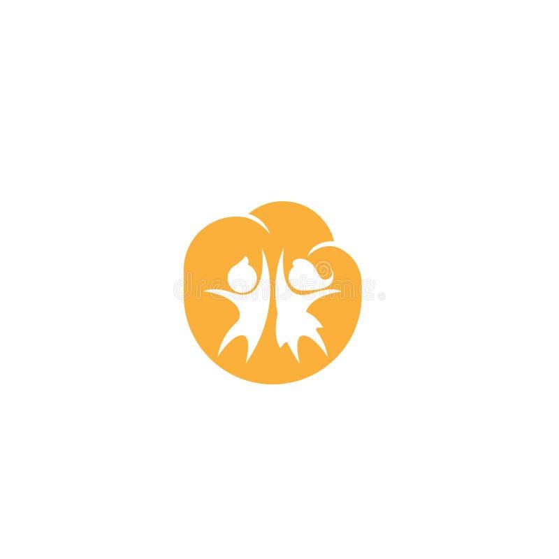 Счастливая иллюстрация вектора логотипа детей Логотип детей Уход за детями детсад Pre школа икона также вектор иллюстрации притяж бесплатная иллюстрация
