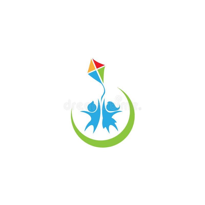 Счастливая иллюстрация вектора логотипа детей Логотип детей Уход за детями детсад Pre школа икона также вектор иллюстрации притяж иллюстрация штока