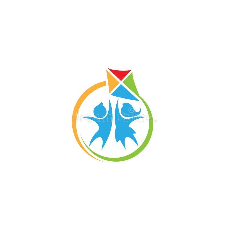 Счастливая иллюстрация вектора логотипа детей Логотип детей Уход за детями детсад Pre школа икона также вектор иллюстрации притяж иллюстрация вектора