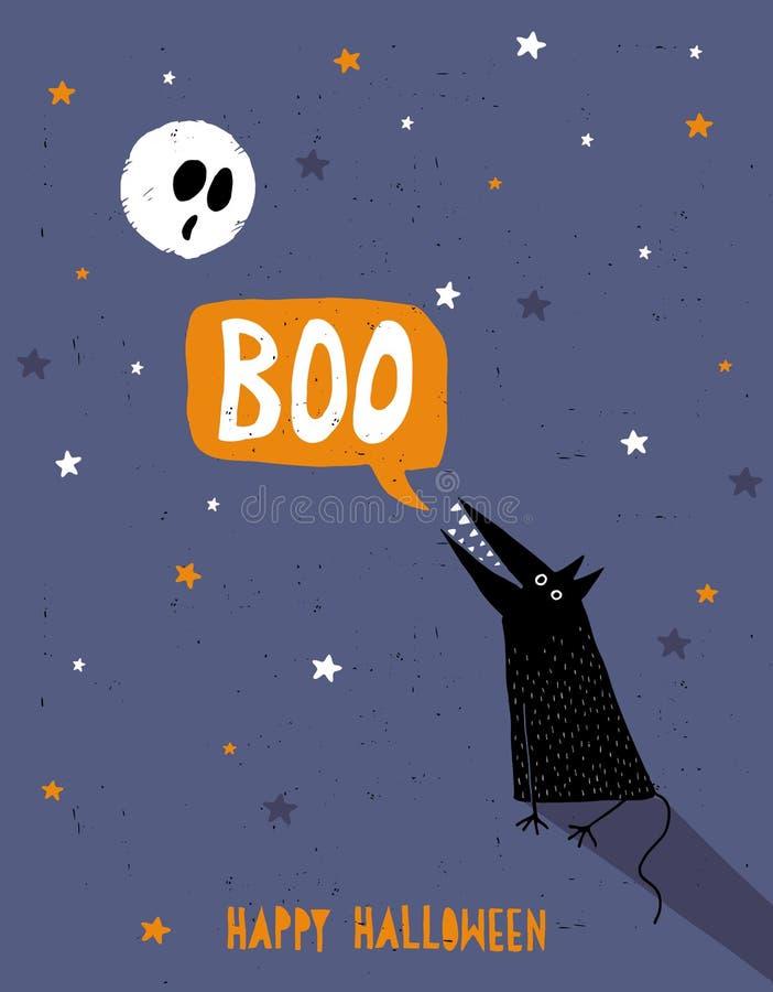 Счастливая иллюстрация вектора хеллоуина Вспугнутое белое полнолуние и Yowling черное Wofl иллюстрация вектора