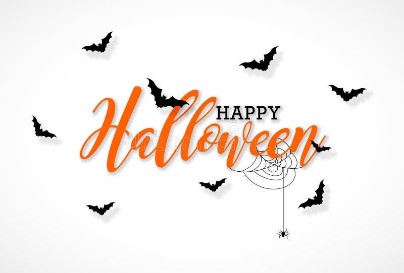Счастливая иллюстрация вектора хеллоуина с литерностью оформления, летучими мышами летания и пауком на белой предпосылке праздник иллюстрация штока