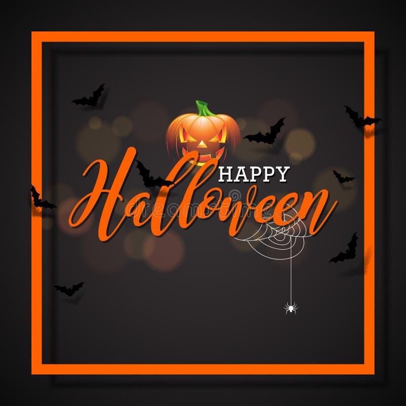 Счастливая иллюстрация вектора хеллоуина с тыквой на черной предпосылке Дизайн праздника с пауками и летучими мышами для приветст бесплатная иллюстрация