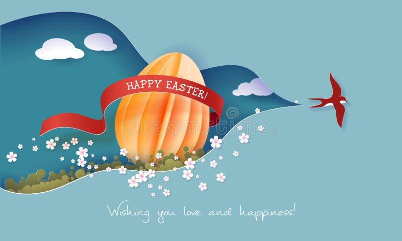 Счастливая иллюстрация весны пасхи Бумажный отрезок 3d иллюстрация вектора