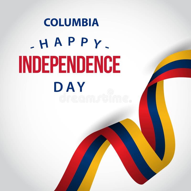 Счастливая иллюстрация дизайна шаблона вектора Дня независимости Колумбии иллюстрация штока