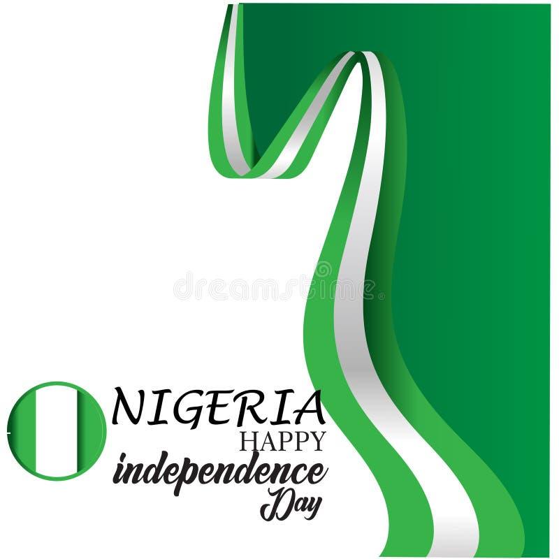 Счастливая иллюстрация дизайна шаблона вектора Дня независимости Нигерии иллюстрация вектора