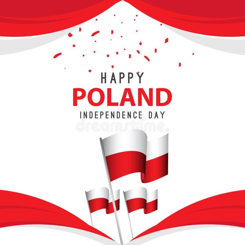 Счастливая иллюстрация дизайна шаблона вектора плаката Дня независимости Польши иллюстрация штока