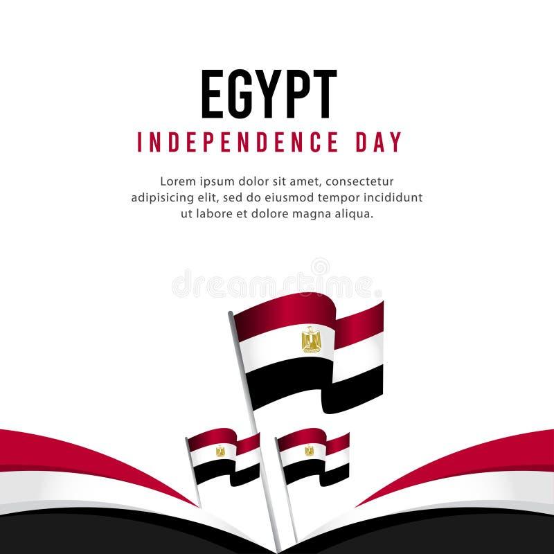 Счастливая иллюстрация дизайна шаблона вектора плаката торжества Дня независимости Египта бесплатная иллюстрация