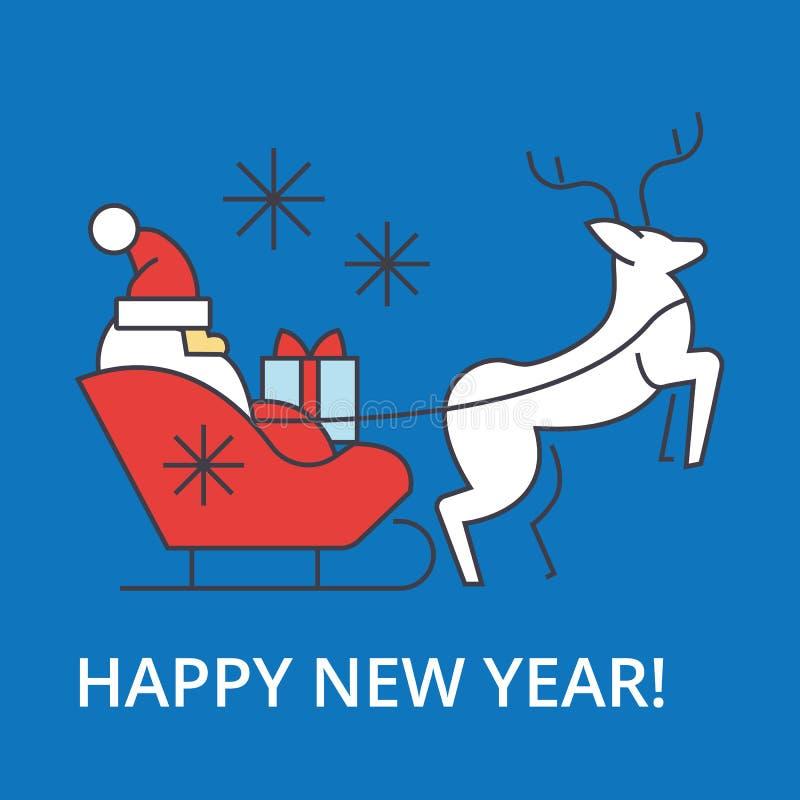 Счастливая иллюстрация саней Санта Клауса Нового Года, тонкая линия значок бесплатная иллюстрация