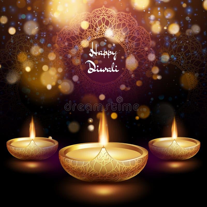 Счастливая иллюстрация Diwali горя diya r 10 eps иллюстрация вектора