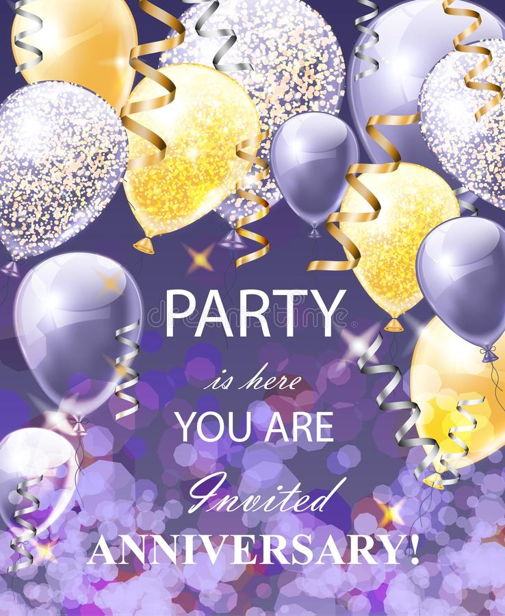 Счастливая карта годовщины с воздушными шарами Вектор праздничной предпосылки партии реалистический иллюстрация вектора