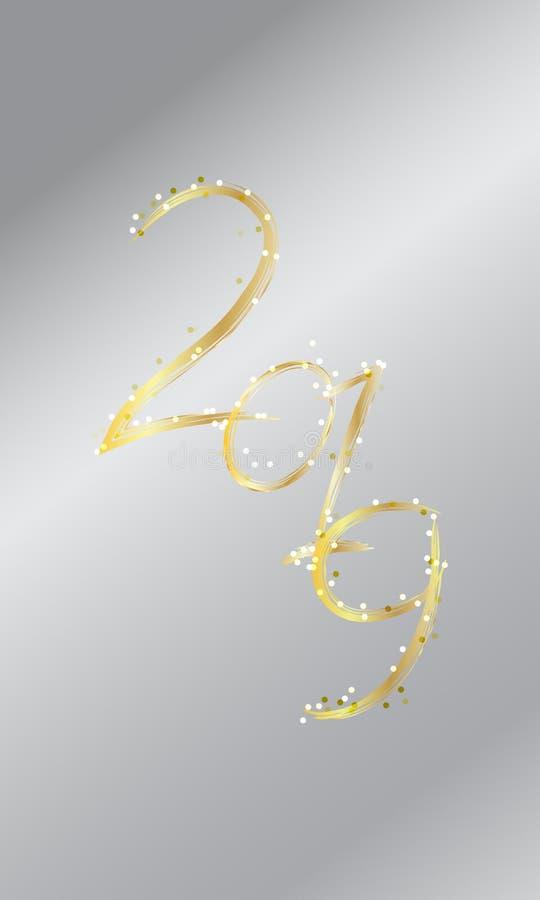 Счастливая карта Нового Года, 2019 золотой текст, оформление Cretaive украшает с яркой искрой иллюстрация штока