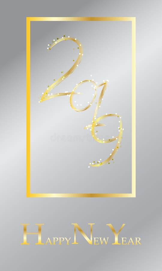 Счастливая карта Нового Года, 2019 золотой текст, оформление Cretaive украшает с яркой искрой бесплатная иллюстрация