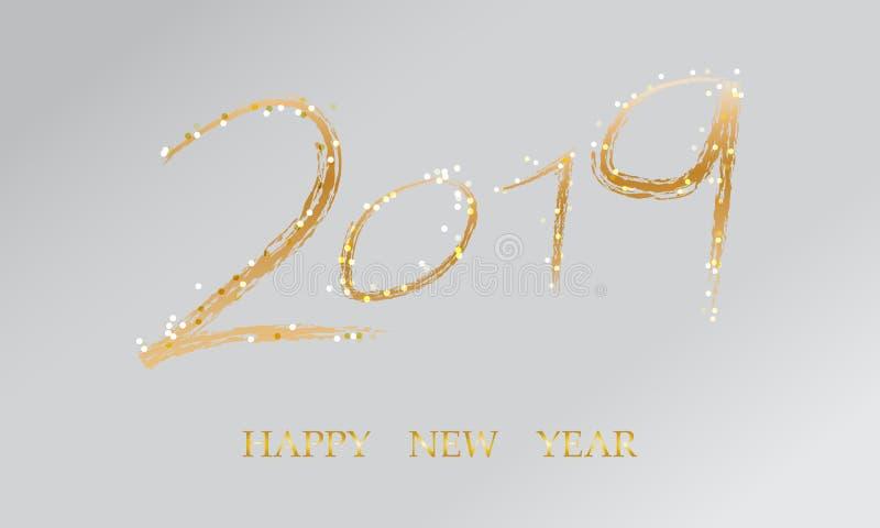 Счастливая карта Нового Года, золотой текст 2019, творческое оформление украшает с яркой искрой иллюстрация штока