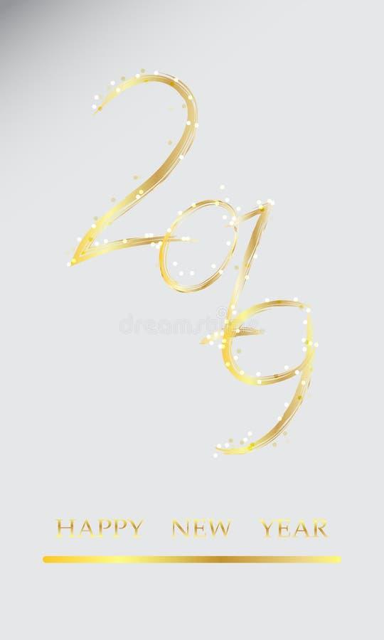 Счастливая карта Нового Года, золотой текст 2019, творческое оформление украшает с яркой искрой иллюстрация вектора
