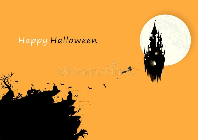 Счастливая карта плаката знамени дня хеллоуина, дизайн силуэта творческий с вектором предпосылки конспекта концепции черноты щетк иллюстрация штока