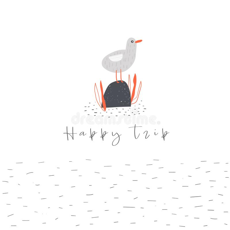 Счастливая карта путешествия, открытка, знамя, плакат с чайкой, океаном, seeweed, каменным иллюстрация штока