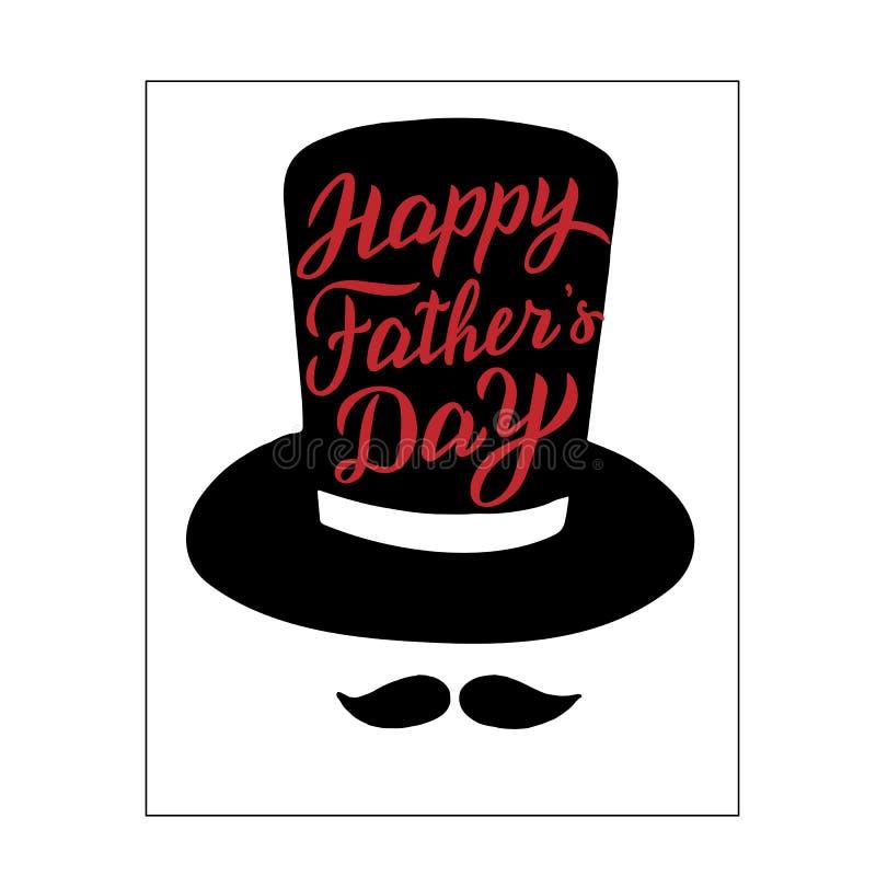 Счастливая карта торжества Дня отца Современный помечая буквами плакат Знамя, стикер, печать иллюстрация штока