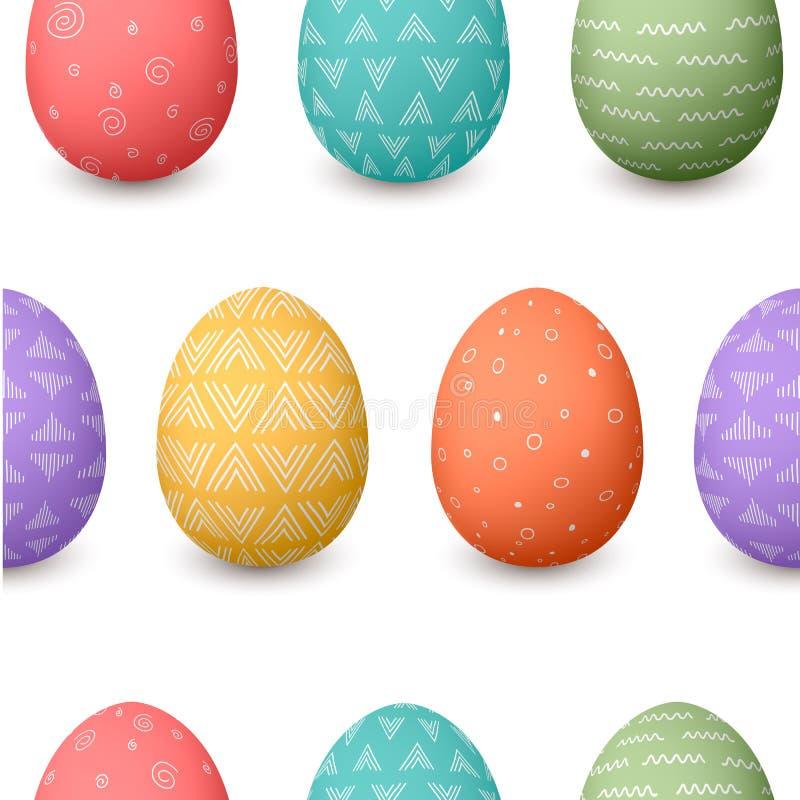 Счастливая картина пасхальных яя безшовная Комплект орнаментированных покрашенных пасхальных яя с различными простыми текстурами иллюстрация вектора