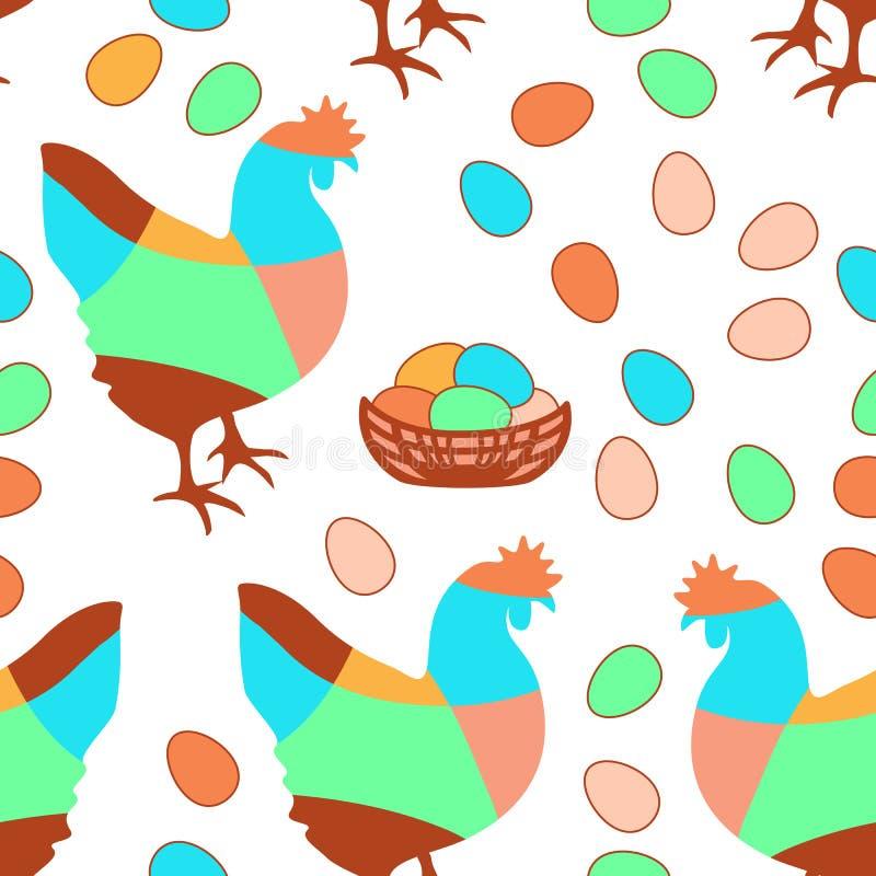 Счастливая картина пасхи безшовная с простыми яйцами и цыпленком бесплатная иллюстрация
