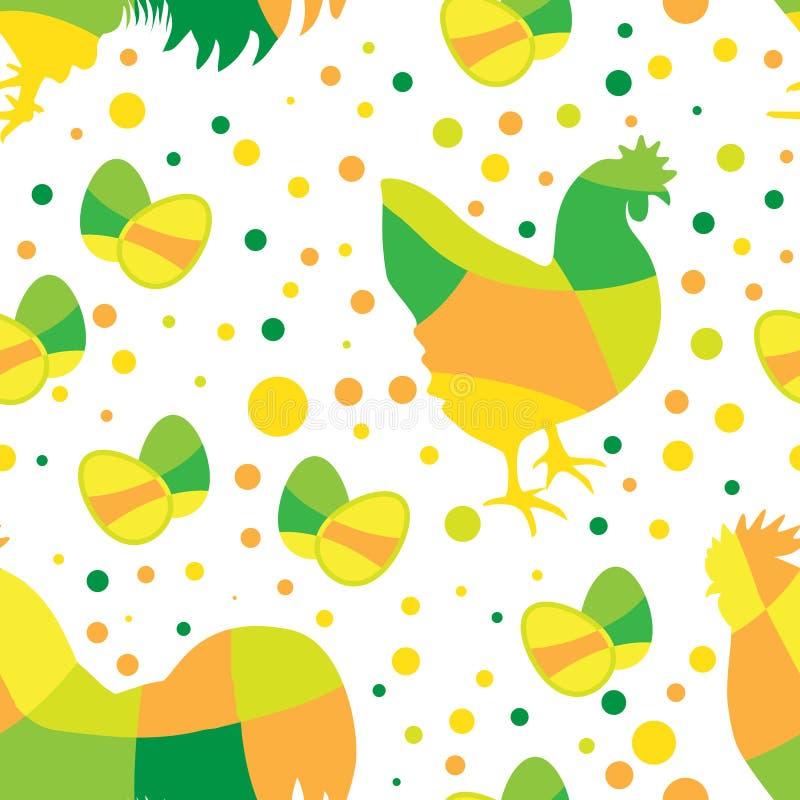 Счастливая картина пасхи безшовная с простыми яйцами и цыпленком иллюстрация вектора