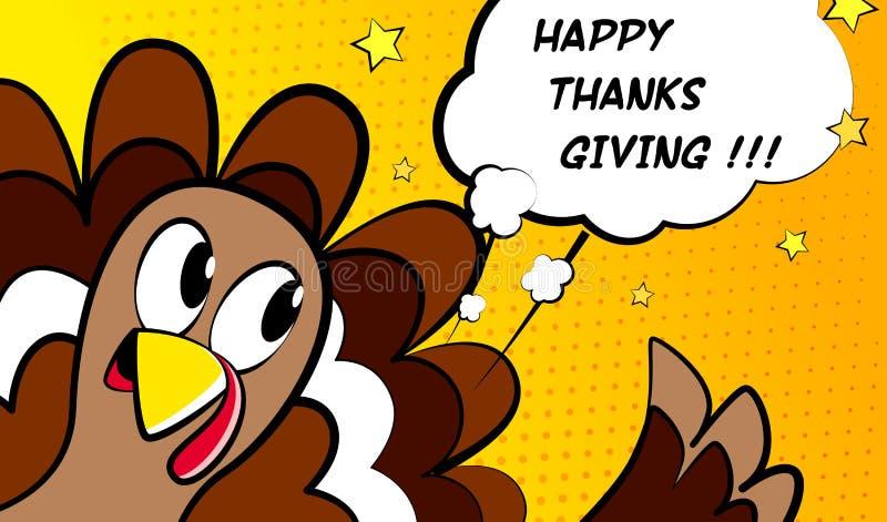 Счастливая карточка вектора благодарения с индюком шаржа Стиль комиксов иллюстрация штока