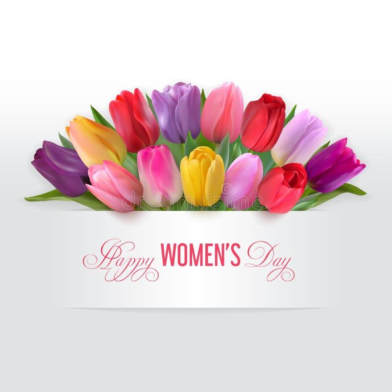 Счастливая карточка дня женщин с тюльпанами иллюстрация вектора