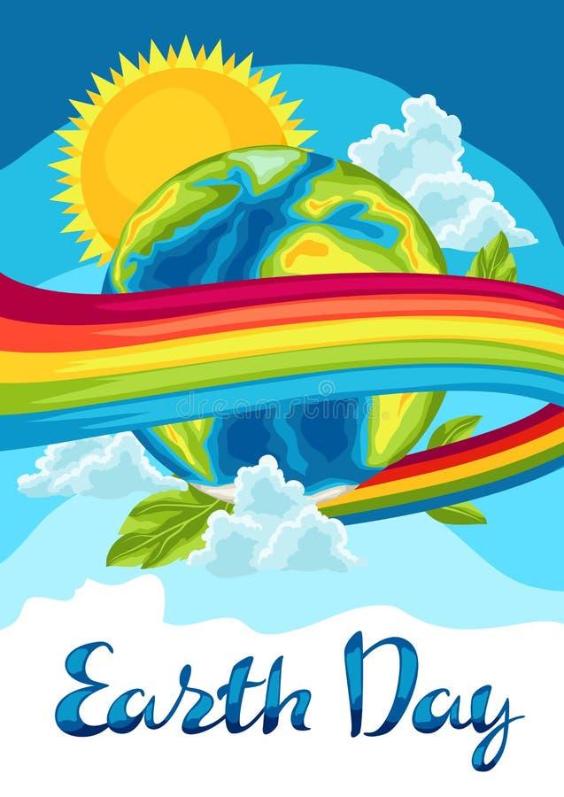 Счастливая карточка дня земли иллюстрация штока