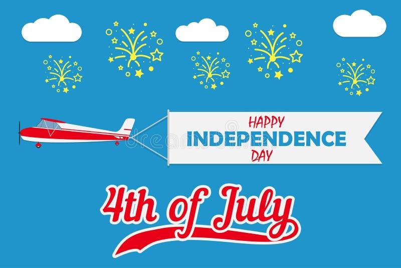 Счастливая карточка Дня независимости с самолетом с знаменем и фейерверками летания r вектор иллюстрация штока
