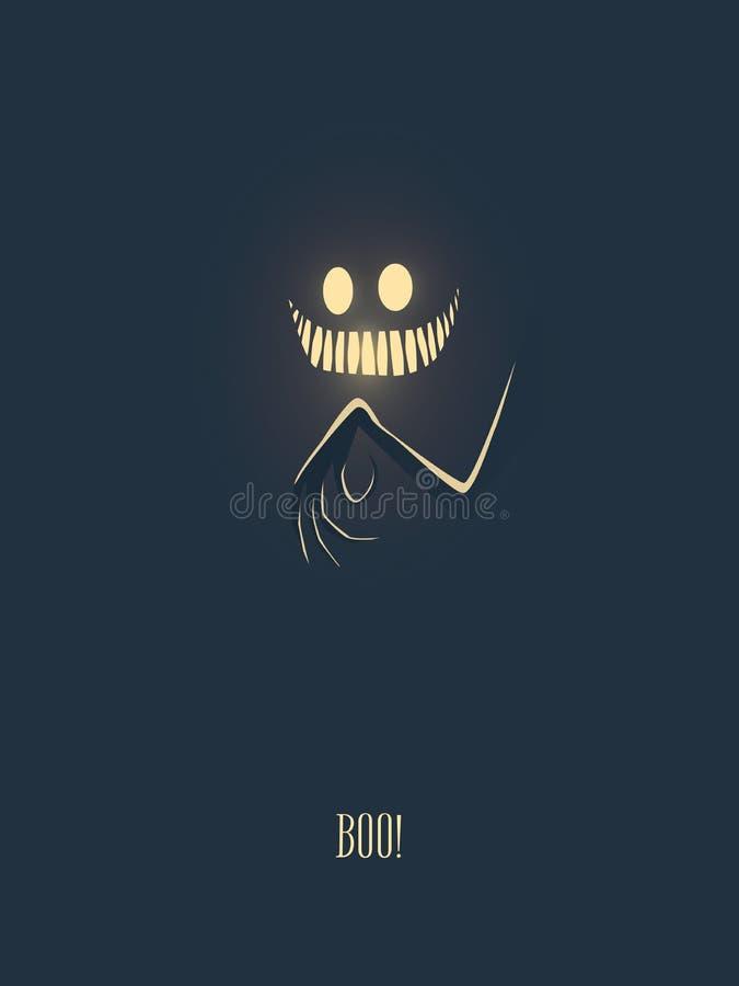 Счастливая карточка иллюстрации вектора хеллоуина при изверг накаляя в темной ноче, его руке с страшными пальцами и рте иллюстрация вектора