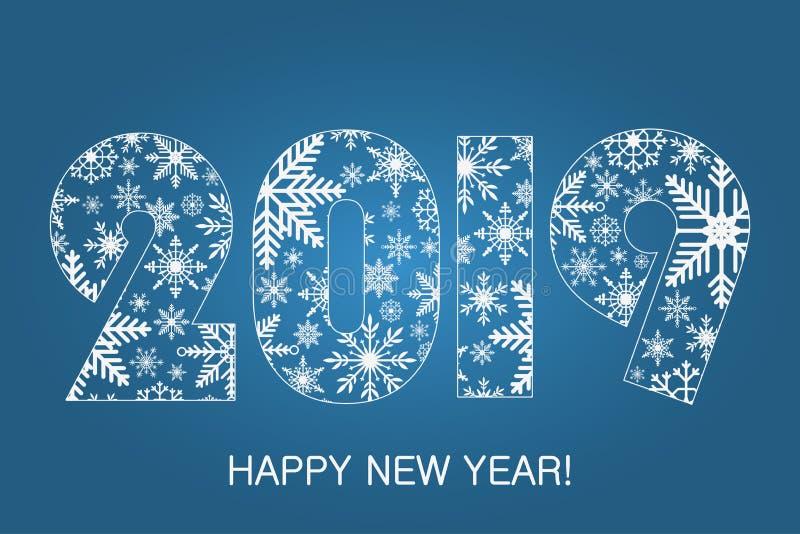 Счастливая карточка 2019 Нового Года - сделанная от снежинок Плакат праздника, знамя вектор иллюстрация вектора