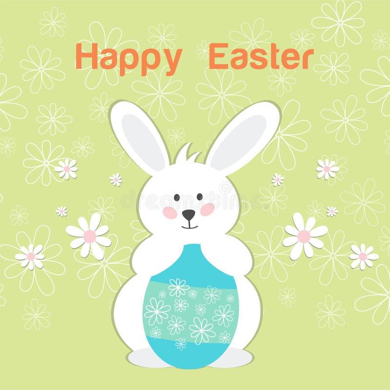 Счастливая карточка пасхи с зайчиком пасхи зайчика счастливым с флористическим венком бесплатная иллюстрация