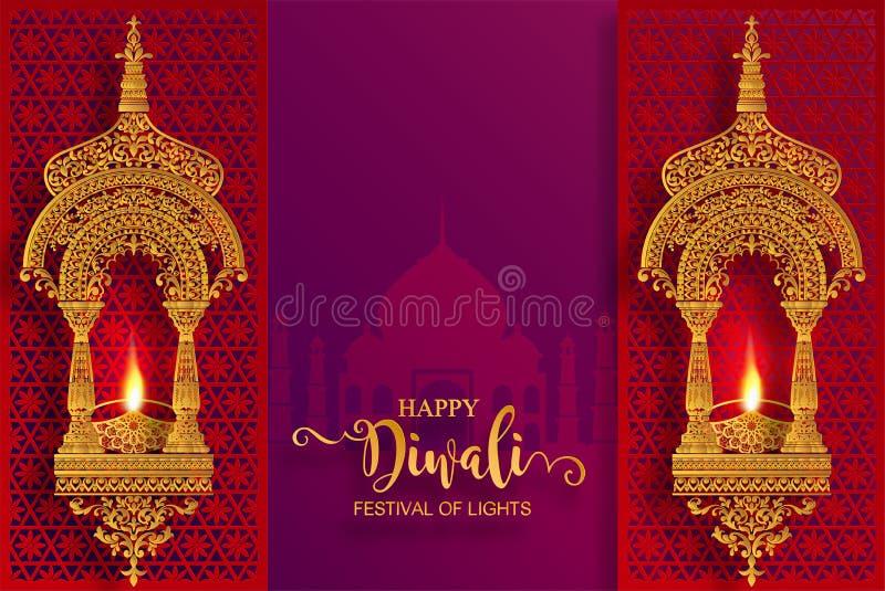 Счастливая карточка фестиваля Diwali бесплатная иллюстрация