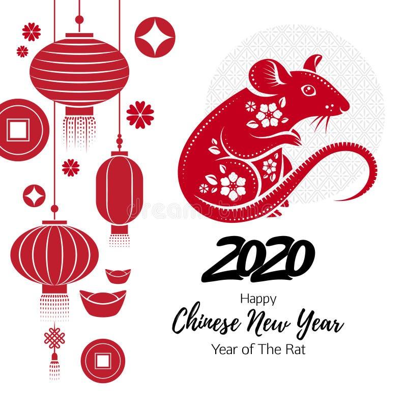 Счастливая китайская предпосылка Нового Года 2020 с крысой иллюстрация штока