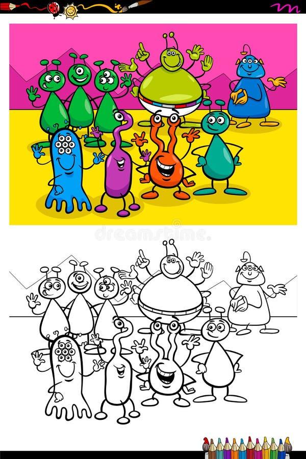Счастливая книга цвета группы характеров чужеземцев иллюстрация вектора