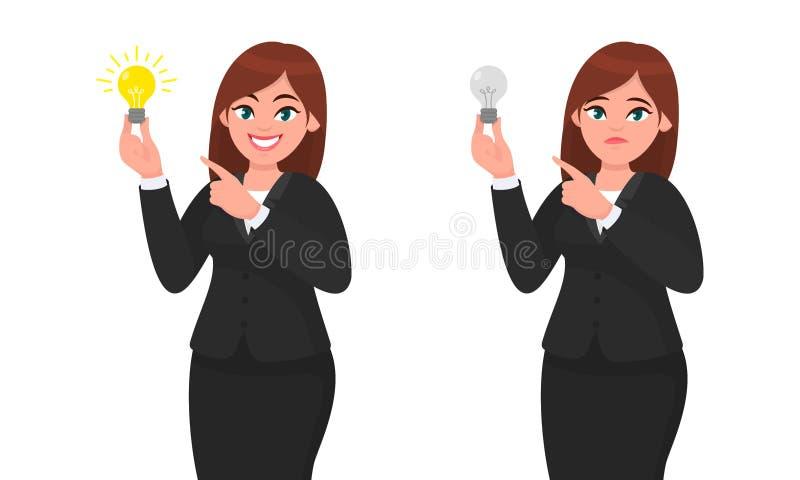 Счастливая коммерсантка держа яркую электрическую лампочку и указывая к ей Несчастная коммерсантка держа шарик и указывать бесплатная иллюстрация