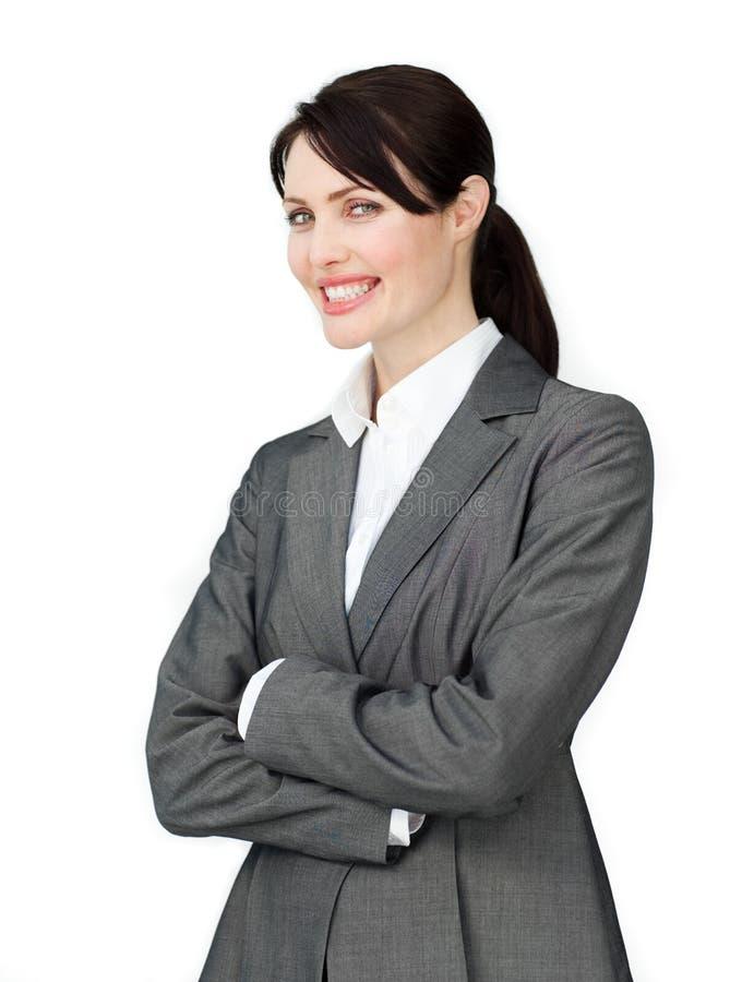 Счастливая коммерсантка с белой рубашкой стоковые изображения rf