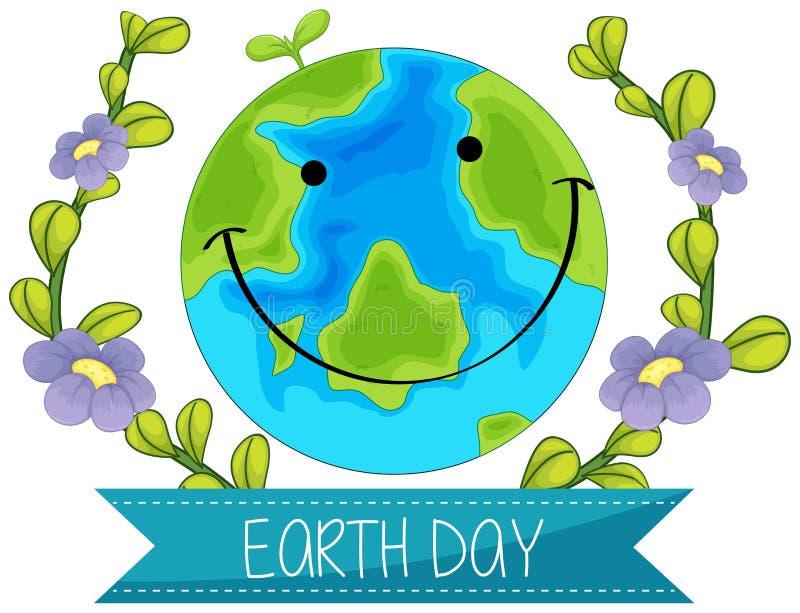 Счастливая концепция дня земли иллюстрация вектора