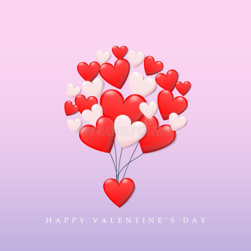 Счастливая концепция дня ` s валентинки группа в составе сердце в красном и белом цвете плавая как воздушный шар до неба с валент иллюстрация штока
