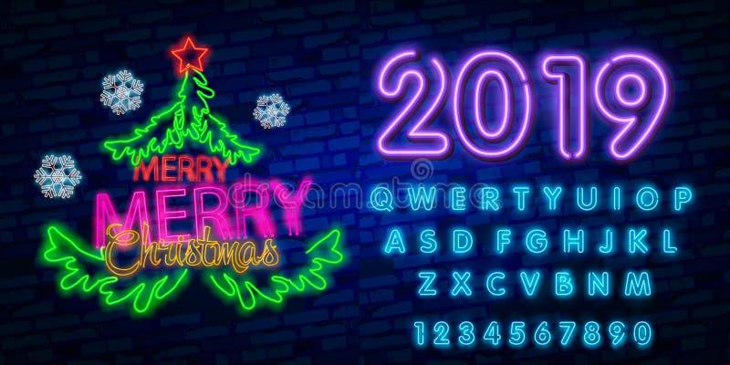 Счастливая концепция Нового Года 2019 с красочными неоновыми светами Конструируйте элементы для представлений, рогулек, карточек, иллюстрация штока