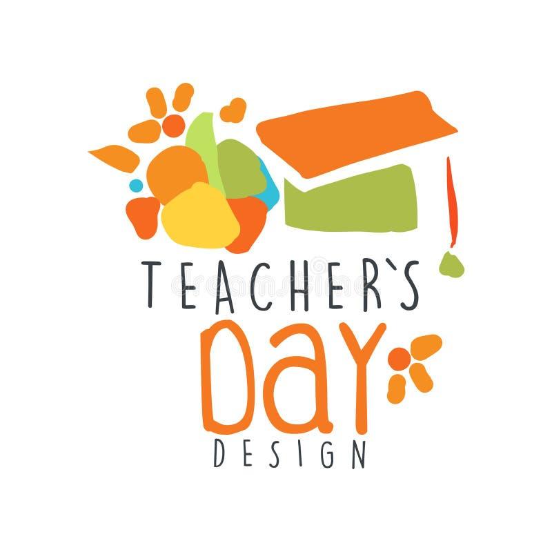 Счастливая концепция ярлыка дня учителей с постдипломной крышкой иллюстрация вектора