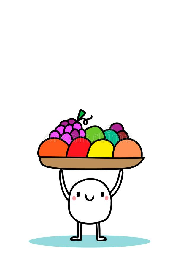 Счастливая корзина удерживания человека мультфильма с плодами r Оранжевый авокадо томата известки лимона яблока виноградины иллюстрация штока