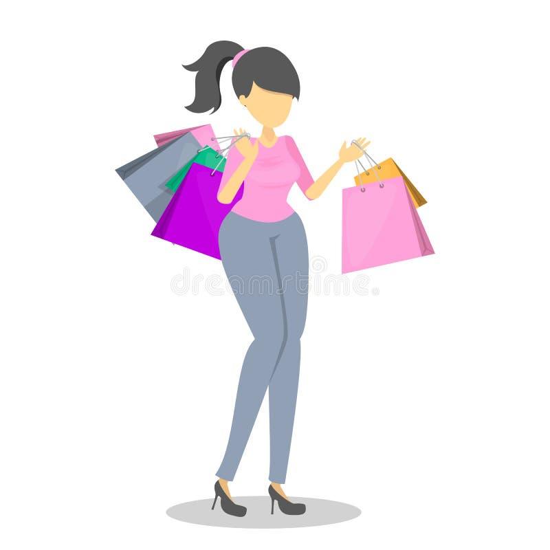 Счастливая красивая женщина с хозяйственными сумками иллюстрация вектора