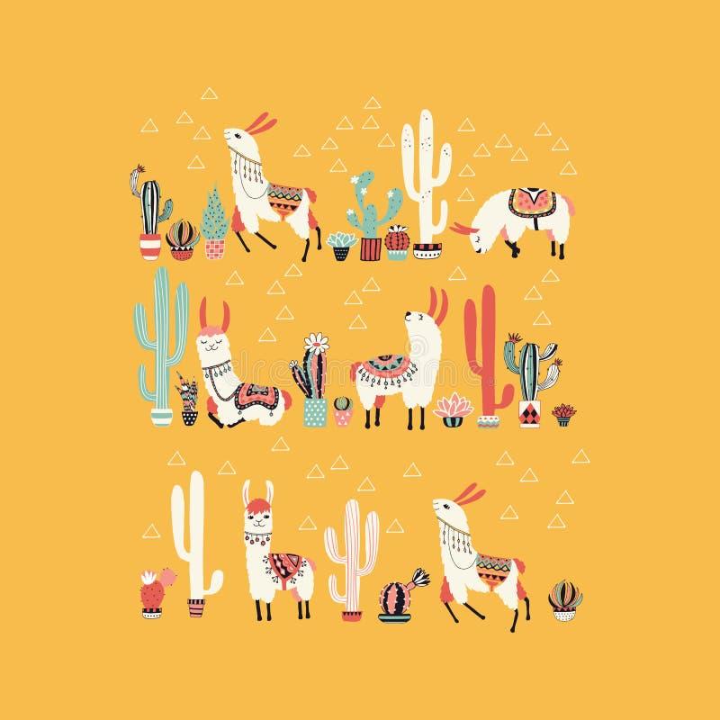Счастливая лама с кактусом в баке бесплатная иллюстрация