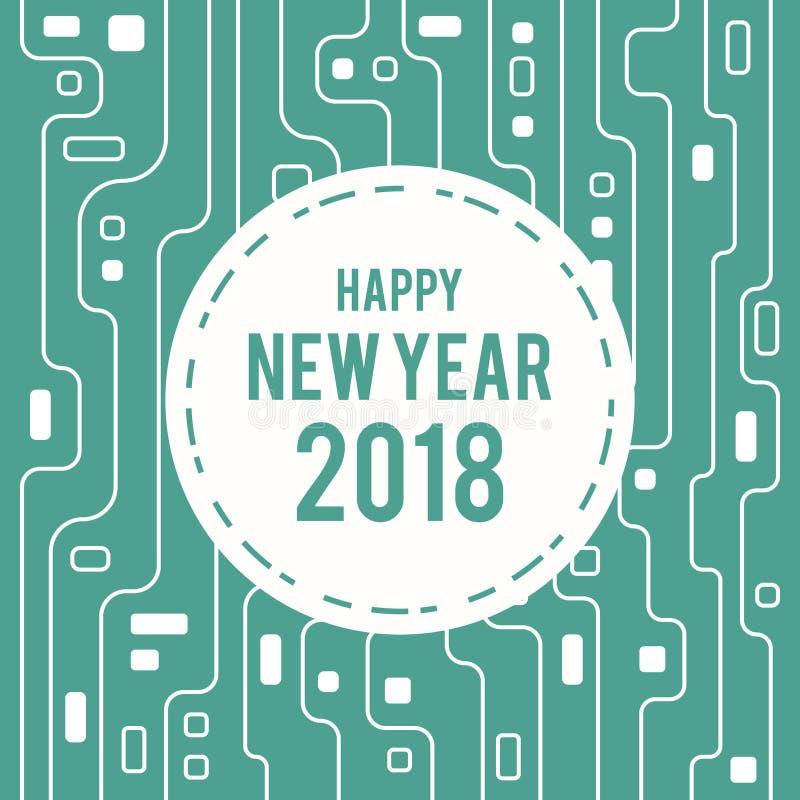 Счастливая линия 2018 цепи поздравительной открытки Нового Года футуристическая стиль искусства иллюстрация вектора