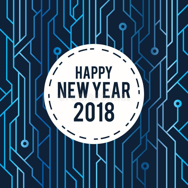 Счастливая линия 2018 цепи поздравительной открытки Нового Года футуристическая голубая стиль искусства иллюстрация штока