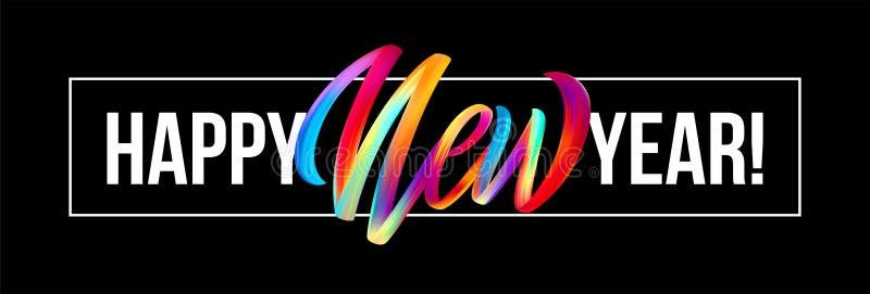 Счастливая литерность Нового Года на предпосылке с красочного элементом дизайна масла brushstroke или акрила вектор бесплатная иллюстрация