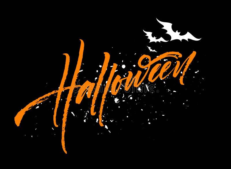 Счастливая литерность хеллоуина Каллиграфия праздника для знамени, плаката, поздравительной открытки, приглашения партии также ве бесплатная иллюстрация